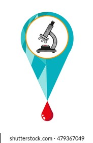 Locator Symbol Pin with a framed Microscope and a drop of blood. Editable Clip Art.