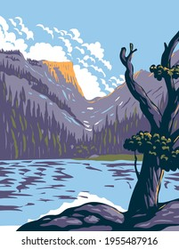 Loch Lake in Rocky Mountain National Park Within Front Range of Rocky Mountains Located in Northern Colorado WPA Poster Art