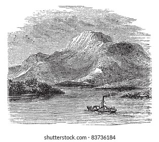 Loch Lomond on Highland Boundary Fault, Scotland, during the 1890s, vintage engraving. Old engraved illustration of Loch Lomond with moving ship in front. Trousset encyclopedia (1886 - 1891).