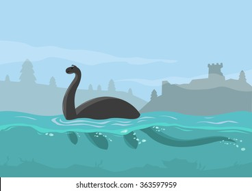Loch Ness Monster Concept. Editable Clip Art.
