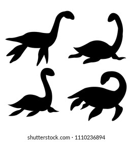 Loch nessie set silhouette on white backgroung vector illustration flat desing