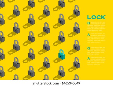 Lock 3D isometric pattern, Password unlock concept poster and banner horizontal design illustration isolated on blue background with copy space, vector eps 10