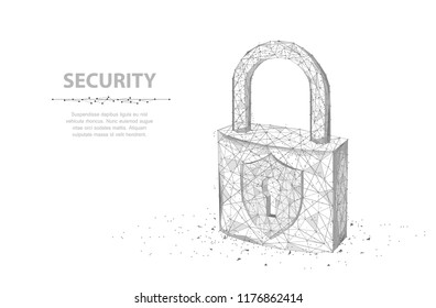 Lock. Abstract 3d wireframe lock isolated on white. Security, safe, privacy or other concept vector illustration or background
