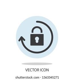 Lock with arrow, update password icon vector