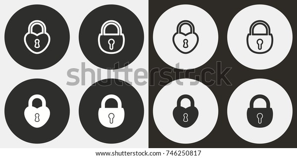 Lock - black and white vector icons. Round buttons for graphic and web design.
