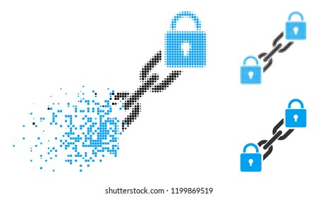 Lock blockchain icon in disappearing, dotted halftone and undamaged entire versions. Pieces are combined into vector disappearing lock blockchain icon. Disintegration effect uses square particles.