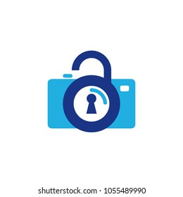 Lock Camera Logo Icon Design