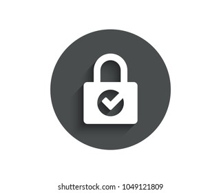 Lock with Check simple icon. Private locker sign. Password encryption symbol. Circle flat button with shadow. Vector
