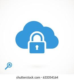 lock cloud icon, stock vector illustration flat design