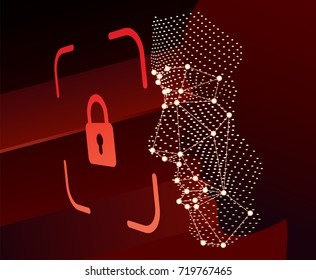 Lock face ID scan vector