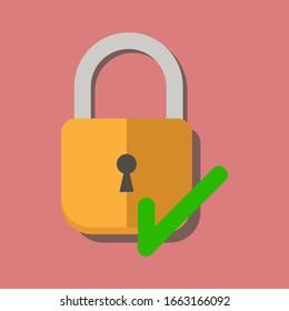 Lock flat icon with correct mark. Flat illustration vector.