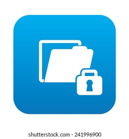 Lock folder icon on blue button,clean vector