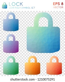 Lock geometric polygonal icons, authentic mosaic style symbol collection. Uncommon low poly style, modern design.