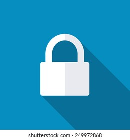 Lock icon with background. Long shadow. Privacy, secure vector