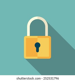 lock icon with long shadow. flat style vector illustration