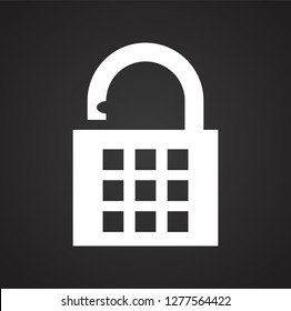 Lock icon on black background for graphic and web design, Modern simple vector sign. Internet concept. Trendy symbol for website design web button or mobile app
