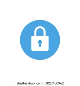 Lock icon. Padlock sign. Close. Vector illustration. Flat design. White on blue background.