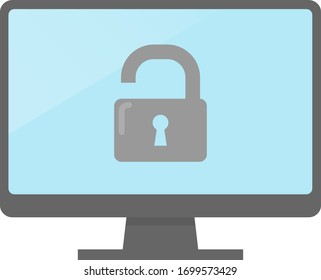 Lock icon and personal computer