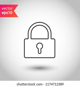 Lock icon. Private lock vector sign. EPS 10 flat symbol