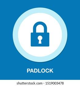 Lock icon, vector padlock, security safety symbol