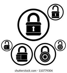 Lock icons set, open and closed versions, vector.