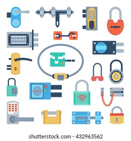 Lock icons set and security padlock protection lock