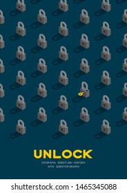 Lock and key 3D isometric pattern, Password unlock concept poster and banner vertical design illustration isolated on blue background with copy space, vector eps 10