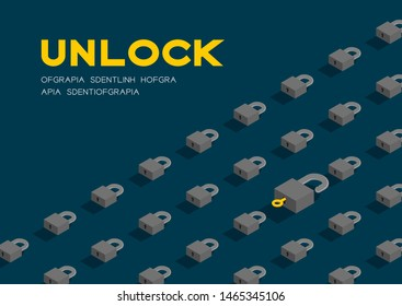 Lock and key 3D isometric pattern, Password unlock concept poster and banner horizontal design illustration isolated on blue background with copy space, vector eps 10