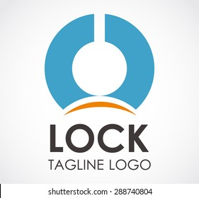 Lock key blue logo simple element symbol shape icon template vector design abstract business company