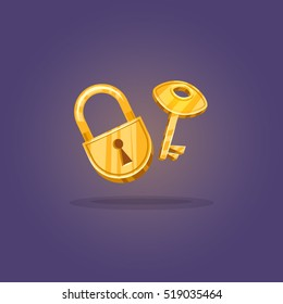 Lock and key or lock with key icon in cartoon style. Sign unlocking, access, password. Game  icons. Vector illustration. EPS 10
