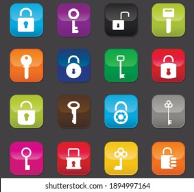 Lock and Key icon set for web sites and user interface. Colored buttons on a dark background