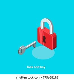 lock and key, isometric image
