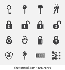 Lock and key sign icon set. vintage key. digital lock. car key. vector illustration.