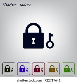 Lock and key vector icon.