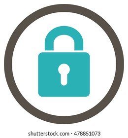 Lock Keyhole vector bicolor rounded icon. Image style is a flat icon symbol inside a circle, grey and cyan colors, white background.