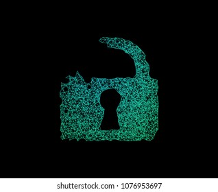Lock line connect generative shape. Concept of network security, hack, data leak, data breach, information security, IoT. Vector illustration