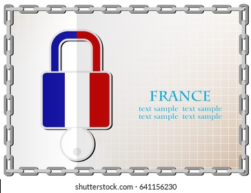 lock logo made from the flag of France
