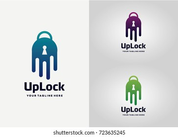 Up Lock  Logo Template Design Vector, Emblem, Design Concept, Creative Symbol, Icon