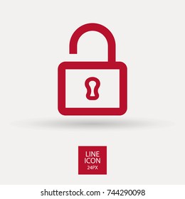 Lock minimalistic vector icon. Protection line minimal icon for flat mobile app and web design.