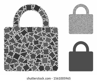 Lock mosaic of inequal items in various sizes and color tints, based on lock icon. Vector tuberous dots are organized into mosaic. Lock icons collage with dotted pattern.