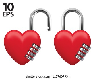 Lock with numeric code. Realistic vector 3d illustration