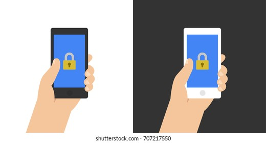 Lock on smartphone screen. Hand holds the smartphone. Modern Flat design illustration.