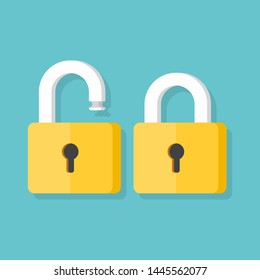Lock open and lock closed. Concept password, blocking, security. Vector illustration isolated on blue background