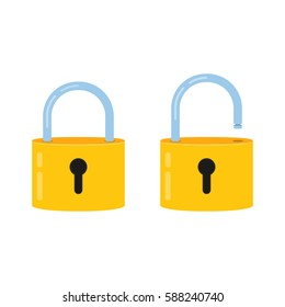 Lock open and lock closed. Concept password, blocking, security. Icon for web and mobile application. Flat design style.