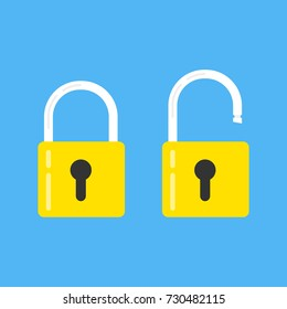 Lock open and lock closed. Concept password, blocking, security. Icon for web and mobile application. Vector illustration.