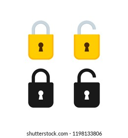 Lock open and lock closed icons set. Security symbol. Vector illustration.