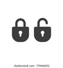 Lock open and closed, password security symbol, padlock pictogram