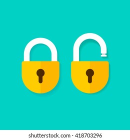 Lock open and lock closed vector icons isolated on blue background, yellow padlocks shapes illustration, flat cartoon design