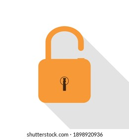 Lock in orange with brown keyhole in white background