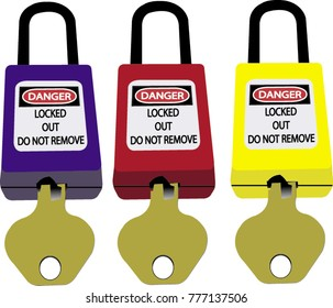Lock out & Tag out , Lockout station,machine - specific lockout devices illustration set